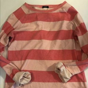 J.Crew Women top Xs Rugby Stripe pink long sleeve
